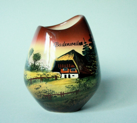 RESERVED MId Century Modern Black Forest Souvenir Vase Handpainted