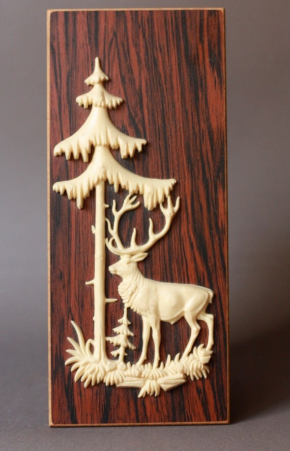 Vintage Deer and Pine Tree on Faux Wood Wall Hanging