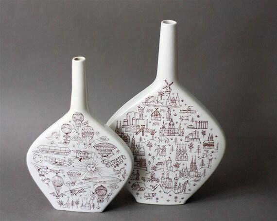 Mid Century Modern Set of Two Escorial Grun German Souvenir Liquor Bottles