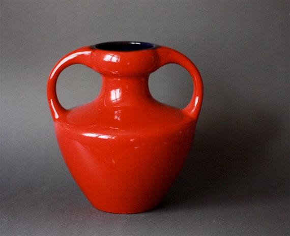 Vintage West German Pottery Vase With Handles Roth 9302