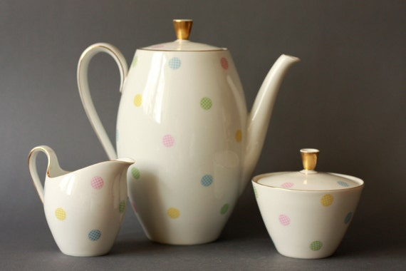 Mid Century Modern 1950s Pastel Polkadots Coffee Pot Creamer and Sugar bowl by Seltmann Bavaria