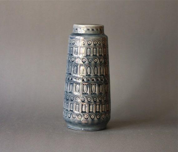 West German Pottery Scheurich Inka Vase Gray Blue