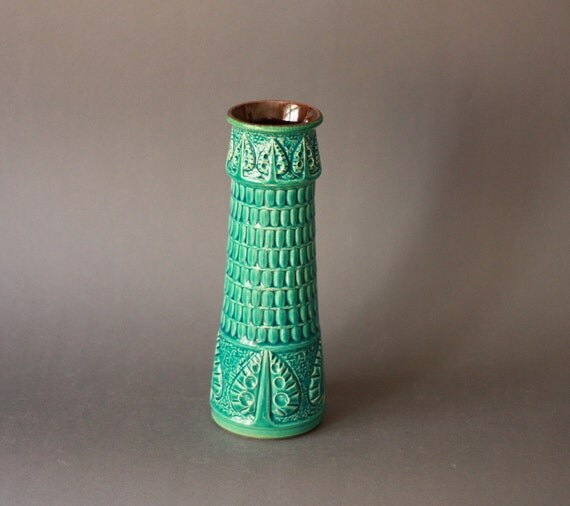Vintage West German Pottery Turquoise Vase Bay Keramik