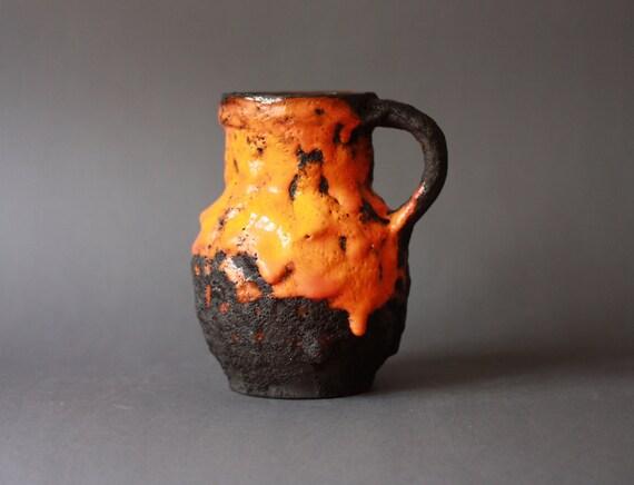 Fat Lava West German Pottery Roth Handled Vase Orange and Black