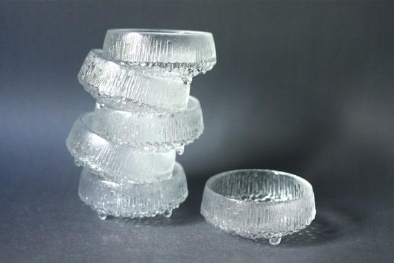RESERVED for ANJA Vintage iittala Ultima Thule Set of Six Dessert Bowls by Tapio Wirkkala Finnish Design