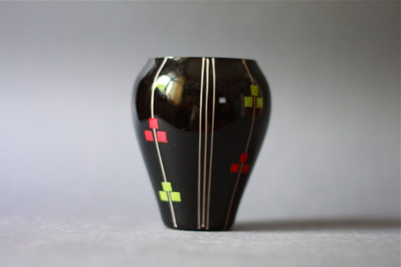 Mid Century Modern Handpainted Glass Vase