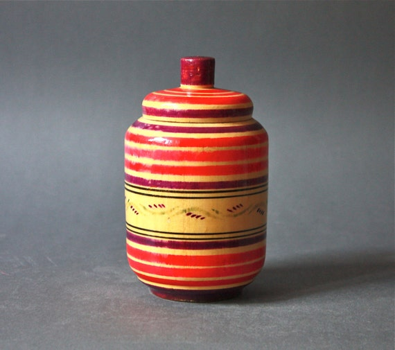 Vintage Neon Pink Russian Handpainted Wood Box Canister
