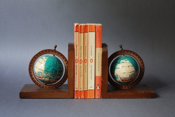 Vintage Spinning Nautical Globes Bookends