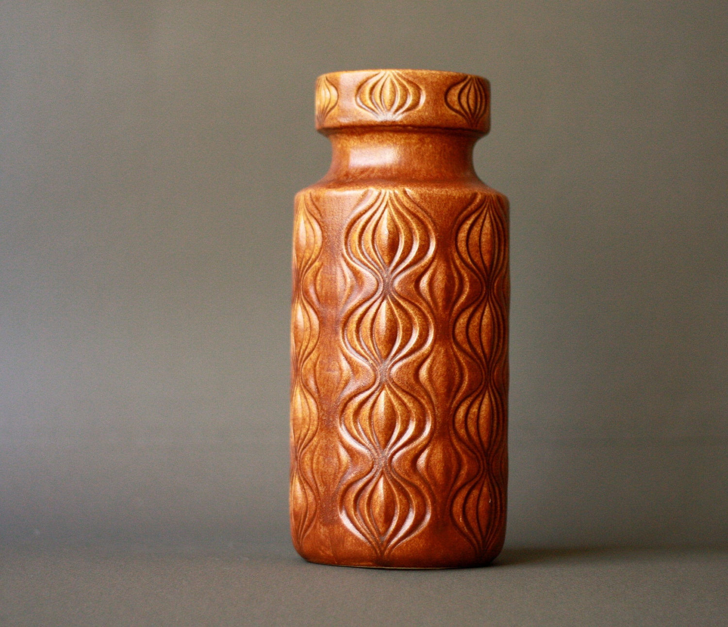 RESERVED for Mary West German Pottery Scheurich Caramel Vase