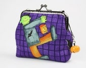 Clutch Purse - Frankenstein and Flying Witch - Cotton Fabric with Metal Frame & Bag Belt