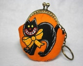 Coin Purse - Black Cat in Pumpkin - Cotton Fabric with Metal Frame
