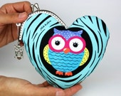 Purse  - Owl in Your Heart in Sweet Blue (Cotton Fabric with Metal Frame & Bag Belt)