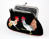 Clutch Purse - Kicking Portugal Rooster - Cotton Fabric with Metal Frame and Bag Belt