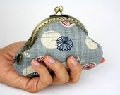 Coin Purse Chrysanthemum in Milky Blue - Cotton Fabric with Metal Frame