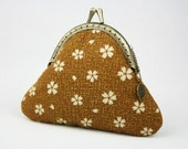 50% OFF>> Coin Purse - Toffee Brown Floral - Cotton Fabric with Metal Frame