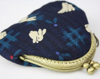 Coin Purse - Jumping Rabbit - Cotton Fabric in Indigo with Metal Frame