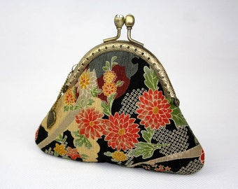 Coin Purse - Sakura Chrysanthemum - Cotton Fabric with Vintage Metal Frame (Polka Dot Lining)