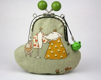 Sewing Goat Clutch Purse / Clutch Bag - Cotton Fabric w/ Candy Clasp Metal Frame & Bag Belt / Bag Chain