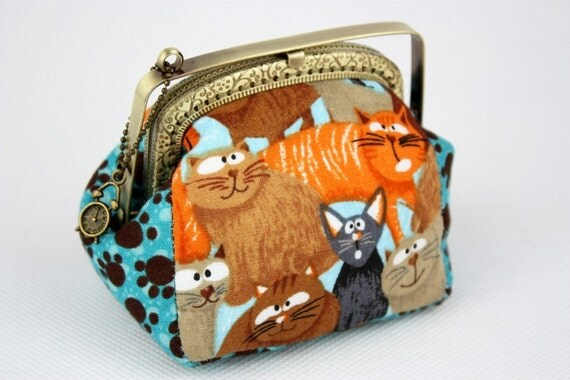 Coin Purse - Daydreaming Cats (Cotton Fabric with Metal Frame) Meow.