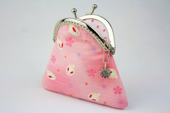 Coin Purse - Sakura & Rabbit Bunny in Sweet Pink - Cotton Fabric with Metal Frame