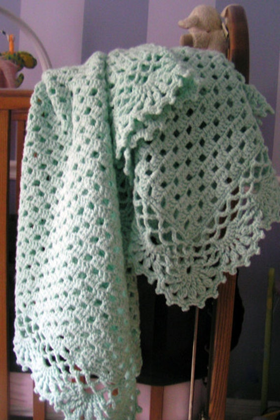 Mint Green Baby Afghan Blanket Hand Crocheted