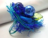 Cocktail Ring China Blue wrapped  pearls fiber