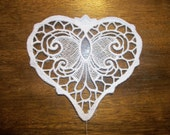 Two Steampunk/gothic Machine embroidered black and white lace appliques