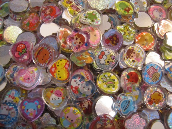 50 kawaii PVC acrylic sticker flakes