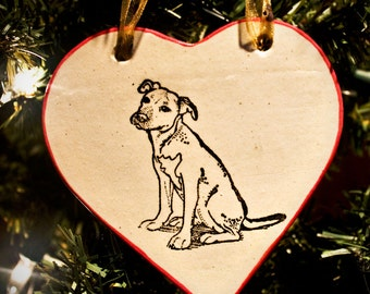 Pit Bull, Sitting - Heart Ornament