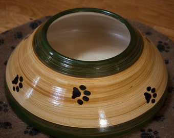 ADVANCE ORDER: Tan & Dark Green Ear Bowl with Paws (Small/Medium)