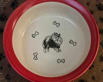 Happy Keeshond Bowl - Red (Large)