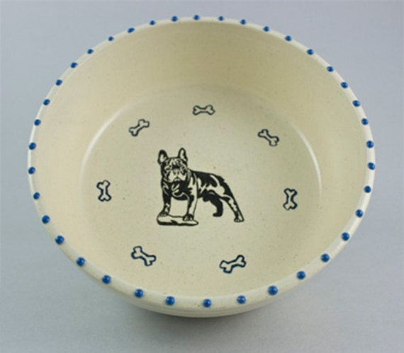SALE - French Bulldog with Bones and Paws - Blue and Black