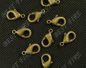 30 pcs of antiqued Brass  lobster claw clasp 8x15mm