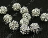 20 PCS of Silver plated brass A grade zircon beads 8mm