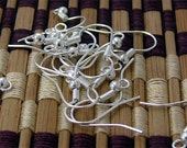 300pcs of Silver Tone fishhook with ball coil ear wire 14X18mm
