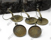 50pcs Antique Solid Brass French Earwires Hook With Round 12mm Pad