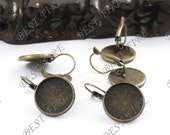 50pcs Antique Solid Brass French Earwires Hook With Round (Inside Diameter 16mm Pad)