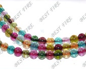 6mm  of  charming multicolour synthetic quartz Round  beads full strand