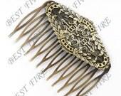 4 pcs of Antique Brass bobby pins Hair Comb pad 50x65 mm
