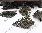 6 pcs of New style Antique Bronze bobby pins flower  filigree pad