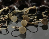30pcs Antique Solid Brass French Earwires Hook With Round 8mm Pad