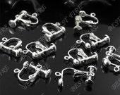 20 pcs of silver tone  brass leverback ear clip screw 14x16mm,earring findings