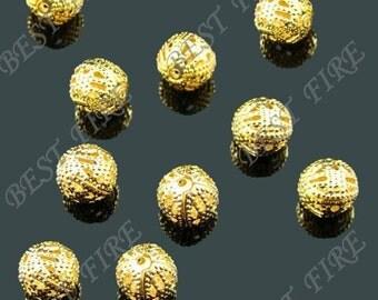 50pcs of Gold Tone Brass round filigree beads 10mm