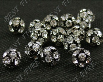 20 PCS of Silver plated brass A grade zircon beads 8mm