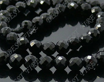 6mm of  A Grade Faceted  Round Black  Agate  beads loose strands