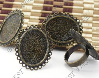 25 pcs of  Adjustable Antique Brass round Ring Base 18x25mm
