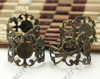 40pcs Antique Brass Pad Adjustable RING Base