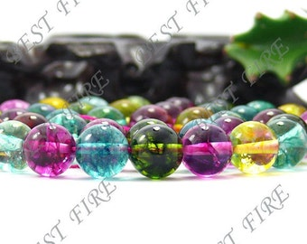 10mm  of  charming multicolour synthetic quartz Round  beads full strand