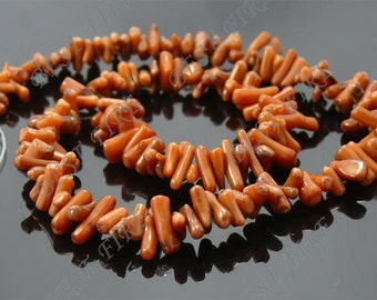 3x14mm of brown coral branch  loose beads full strand