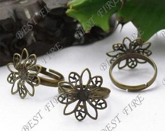 20pcs of  Adjustable Antique Brass Flower Ring Base